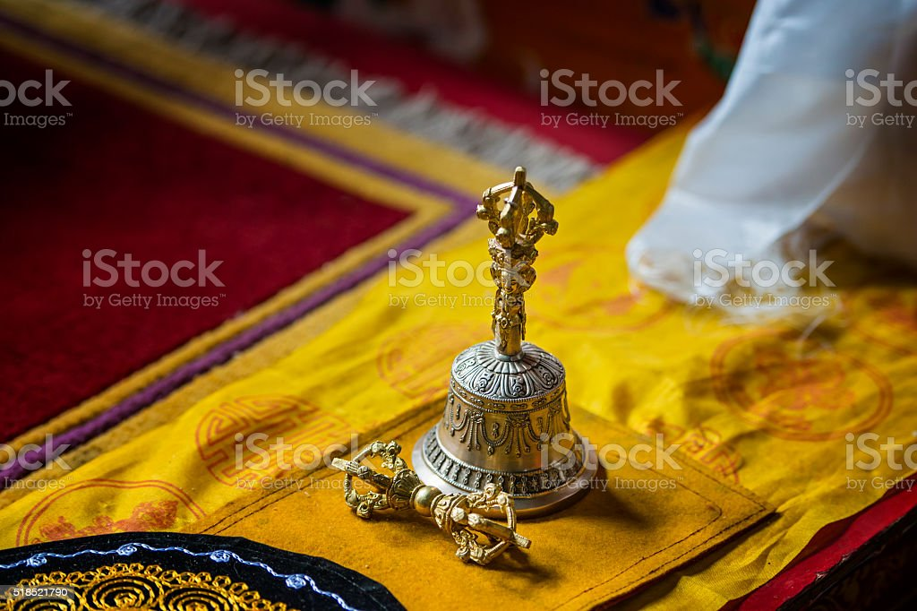 Tibetan bell and thunderbold in a buddhist monastery stock photo