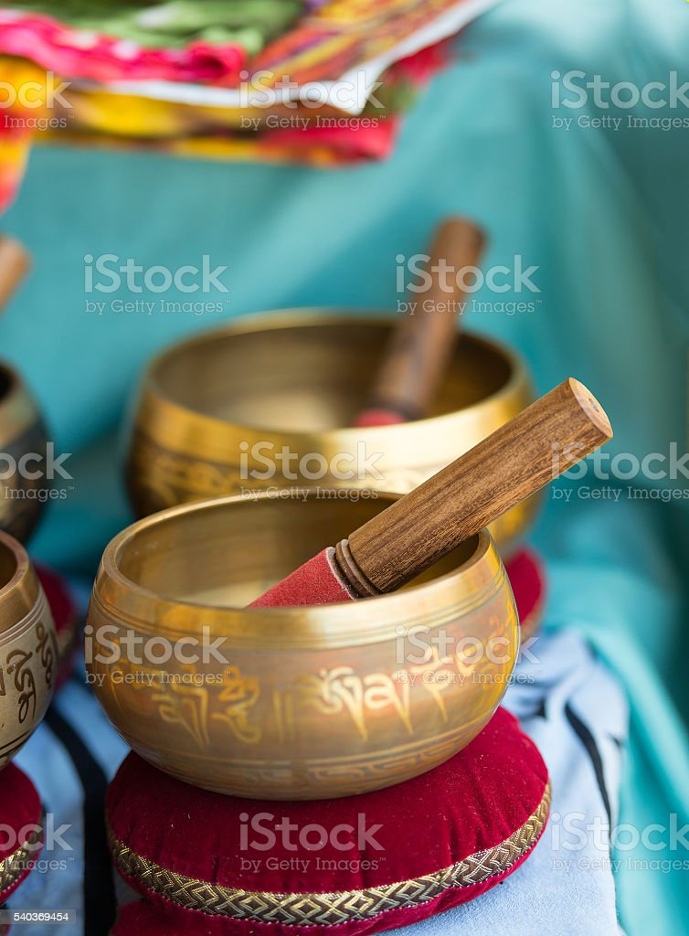 Tibetan bells for sale stock photo