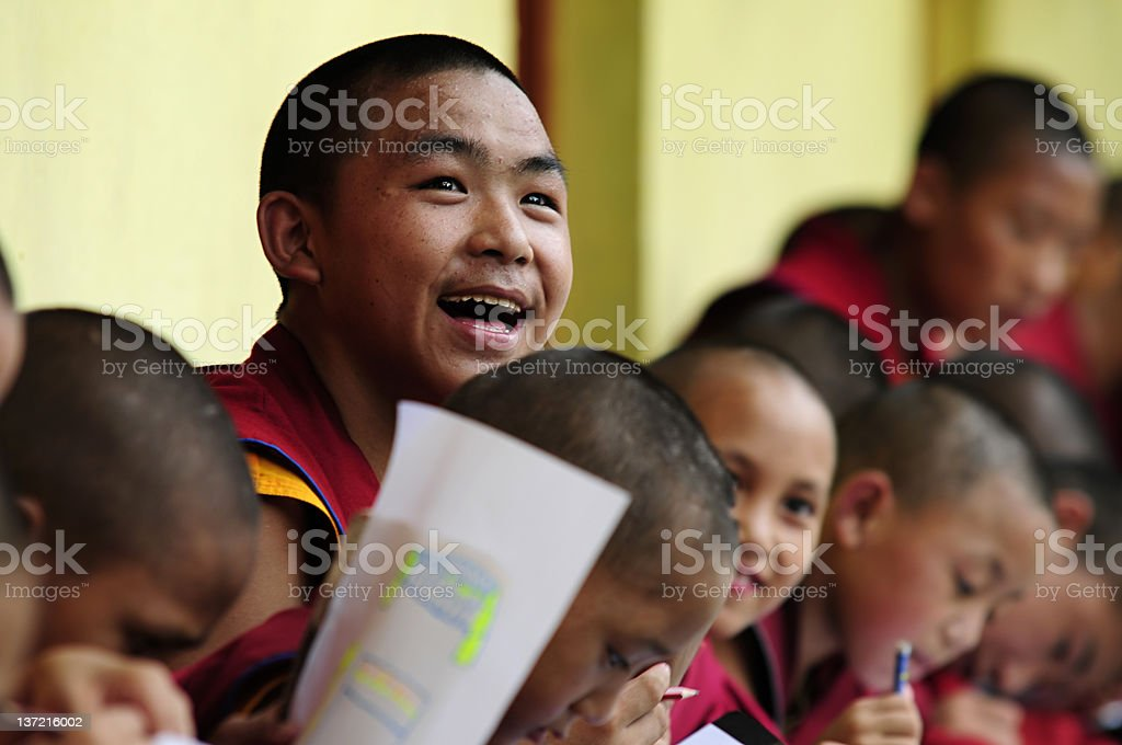 Tibetan boy monks stock photo