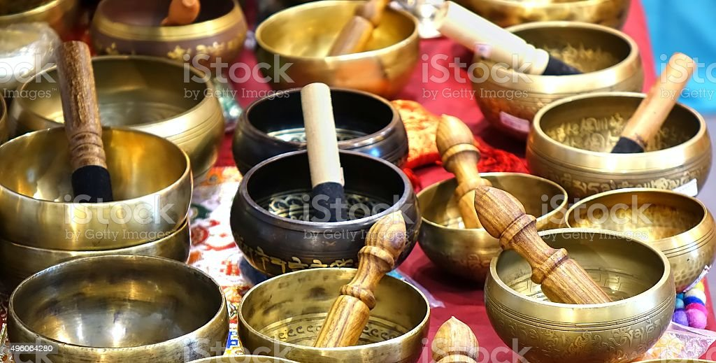 Tibetan Bronze Singing Bowls stock photo