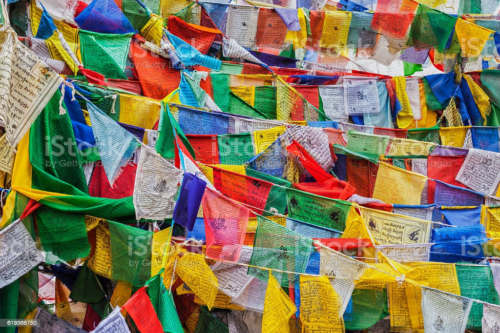 Tibetan Buddhism prayer flags lungta stock photo