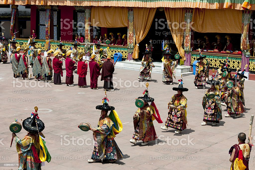 Tibetan Buddhist Festival in Rumtek Monastery Sikkim stock photo