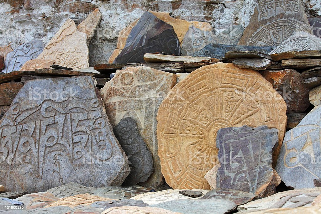 Tibetan Buddhist Mani Stones stock photo
