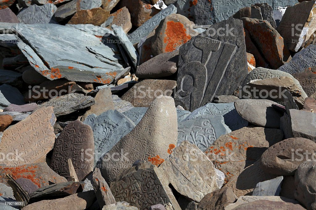 Tibetan Buddhist Mani Stones royalty-free stock photo