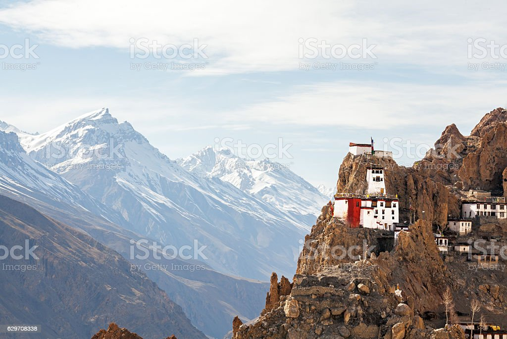 Tibetan Buddhist Monastery Dhankar Gompa Mountains stock photo