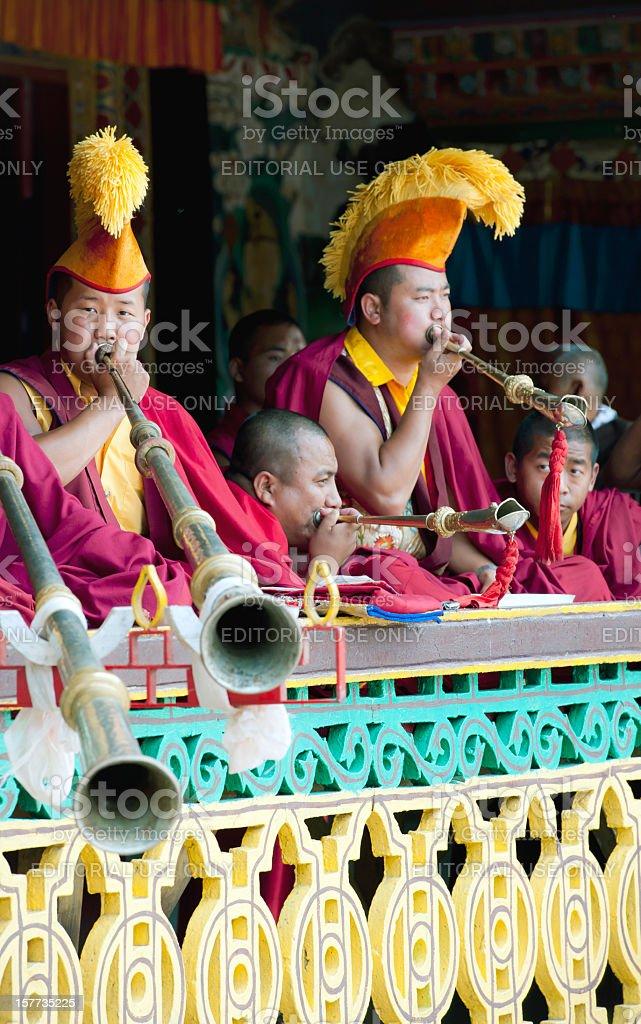 Tibetan Buddhist Monks during Festival Sikkim stock photo