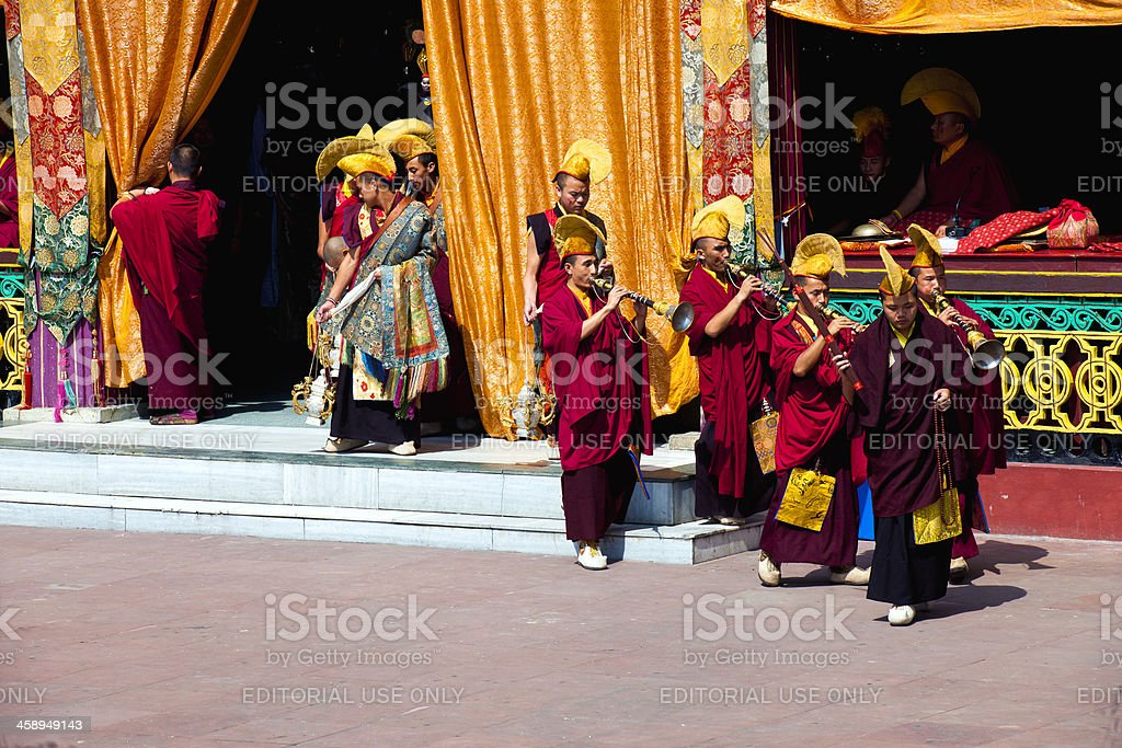 Tibetan Buddhist Monks during Festival Sikkim stock photo