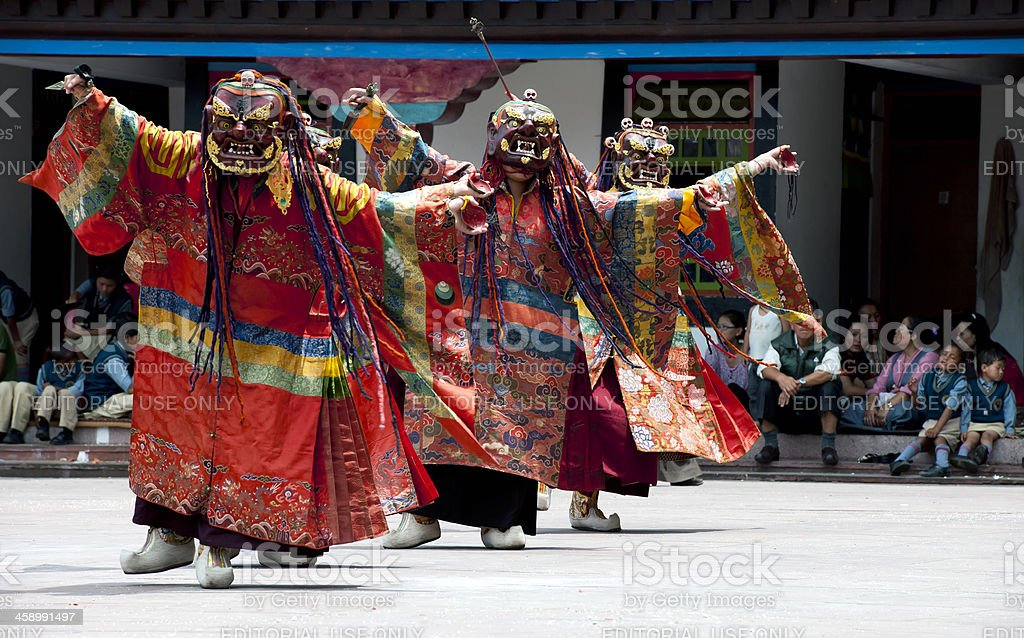 Tibetan Buddhist Monks with Masks during Festival Sikkim stock photo
