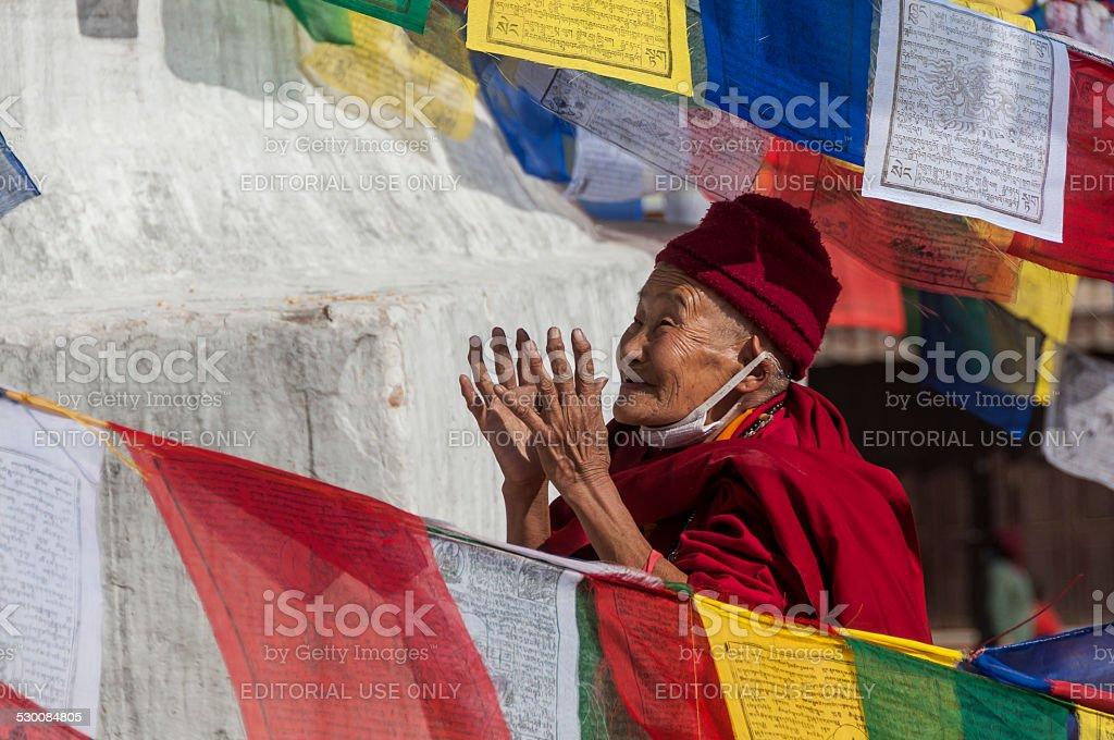 Tibetan Buddhist Nun Prays between Prayer Flags, Bodhnath, Kathmandu, Nepal stock photo