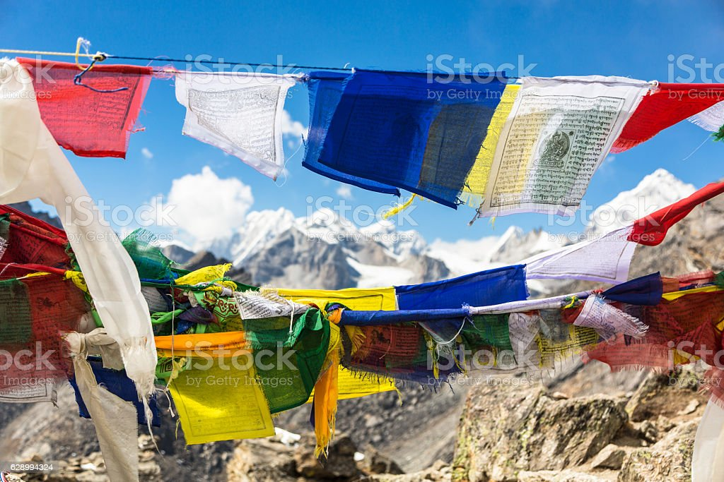 Tibetan Buddhist prayer flags in Nepal stock photo