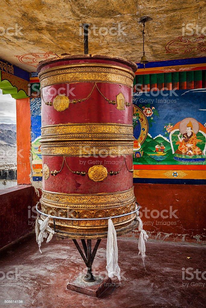 Tibetan Buddhist prayer wheel, Ladakh stock photo