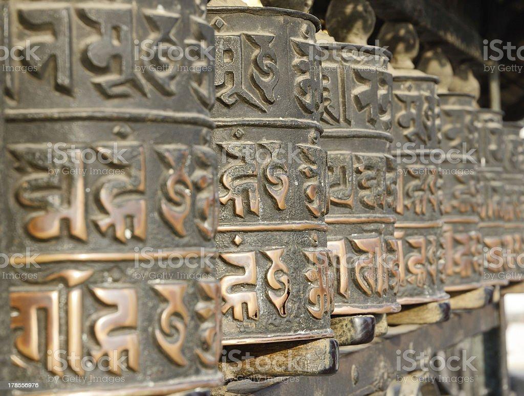 Tibetan buddhist prayer wheels,Nepal,Everest region stock photo