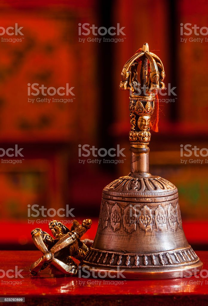 Tibetan Buddhist still life - vajra and bell stock photo