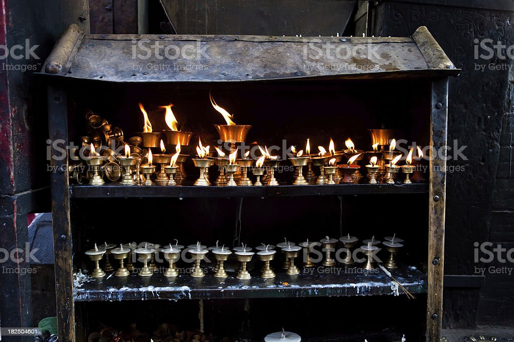 tibetan butter lamps stock photo