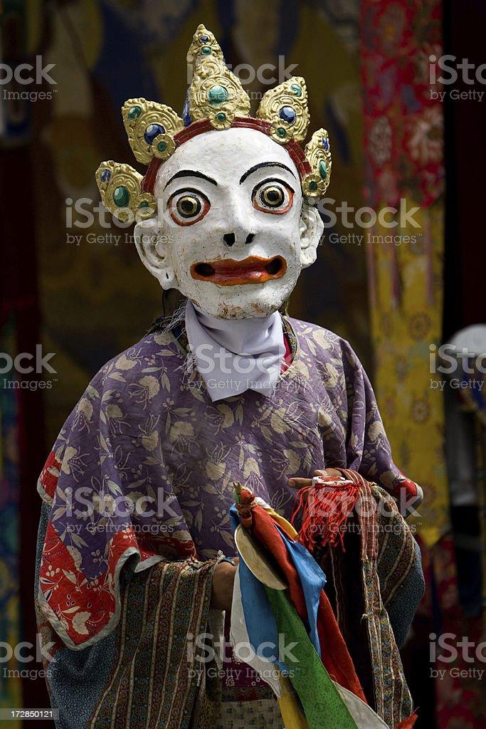 Tibetan Cham dance in masks royalty-free stock photo