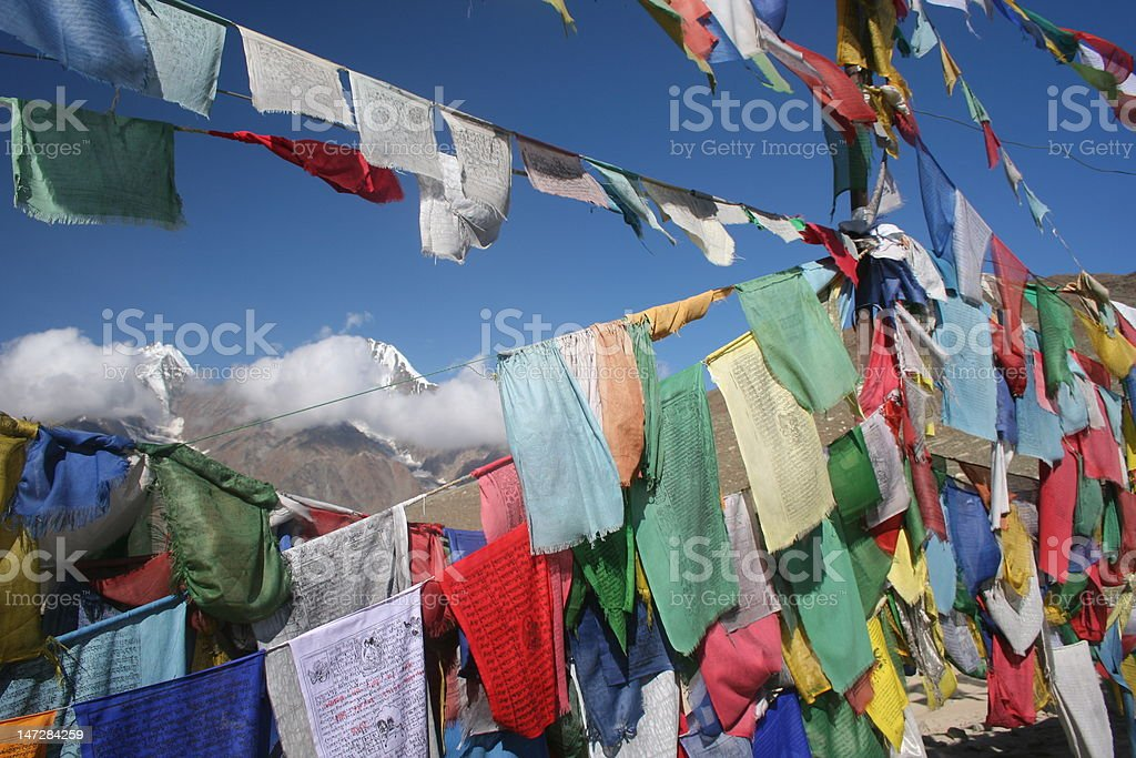 Tibetan flags royalty-free stock photo