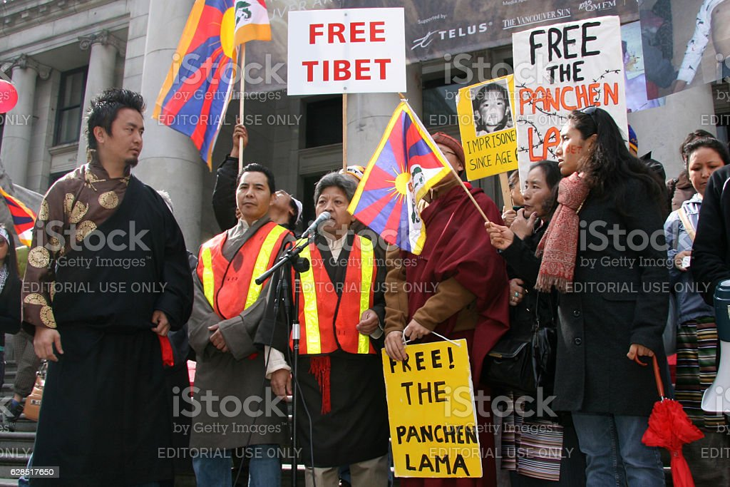 Tibetan Freedom Protest , Vancouver, Canada (March 22nd 2008) stock photo