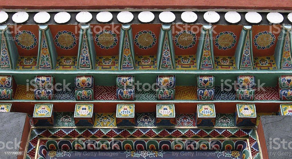 Tibetan Monastery Architectural Detail royalty-free stock photo