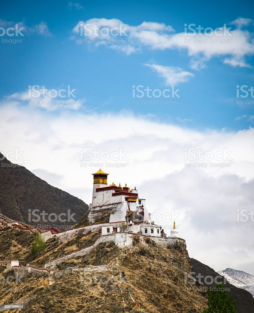 Tibetan monastery on a mountain in Nedong, Tibet stock photo