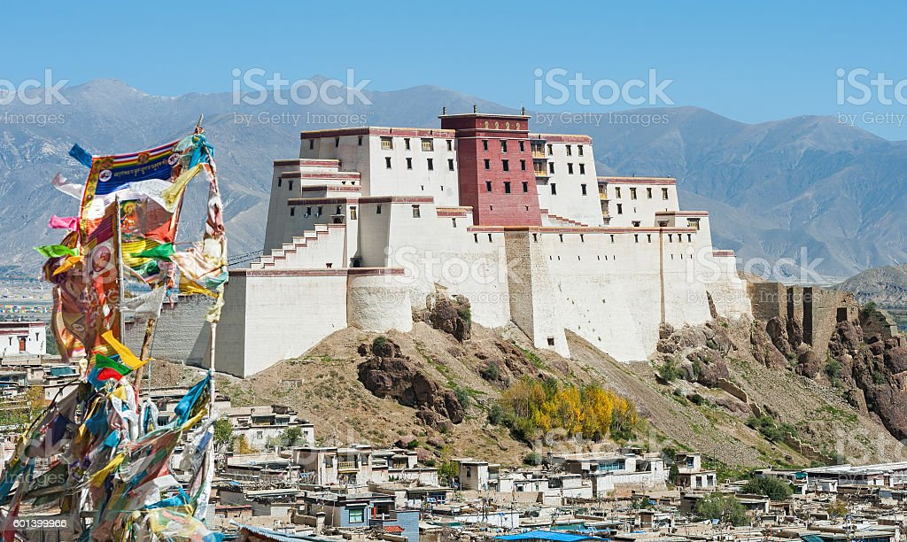 Tibetan monastery on hilltop stock photo