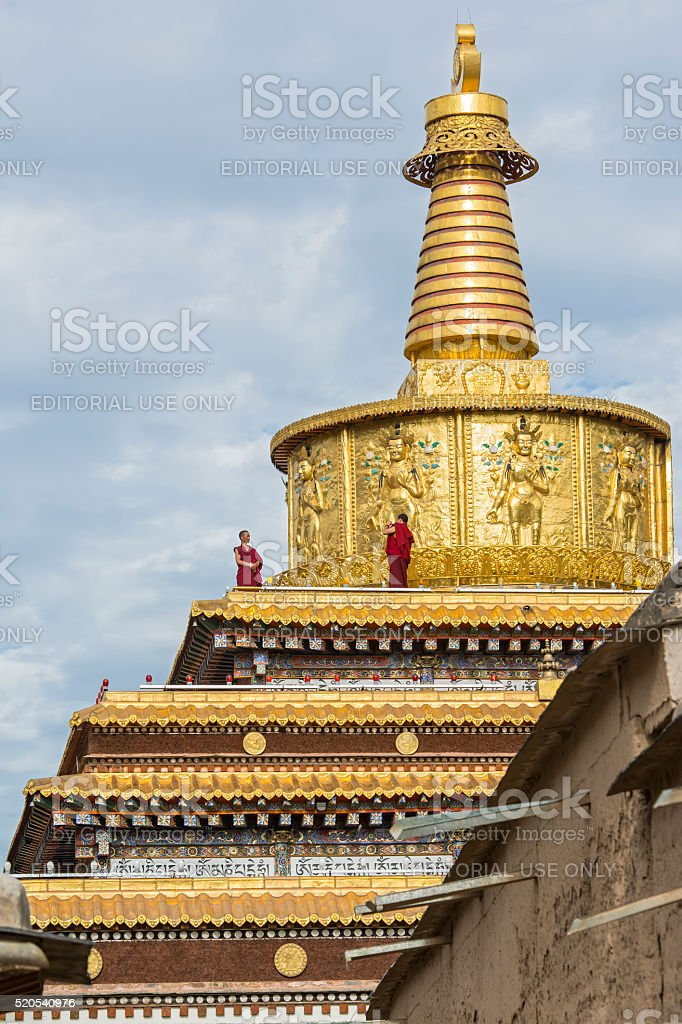 Tibetan monks in Labrang Monastery, Amdo, Tibet stock photo