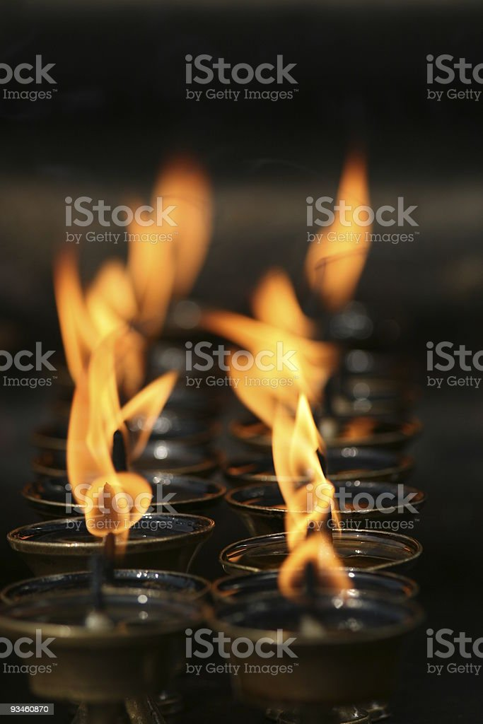 tibetan oil lamps in a buddhist temple royalty-free stock photo