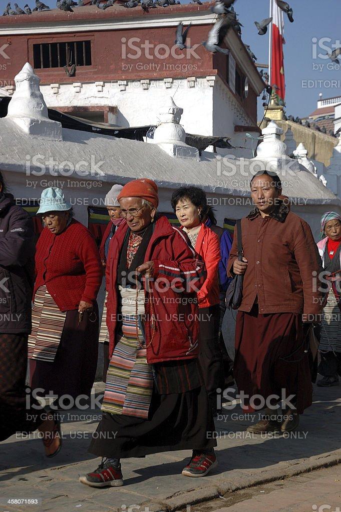 Tibetan people are visiting Bodnath stupa,Kathmandu,Nepal stock photo