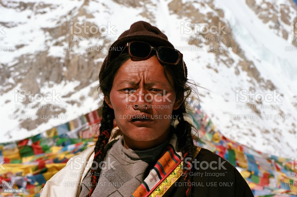 Tibetan pilgrim on the Drolma La pass. stock photo