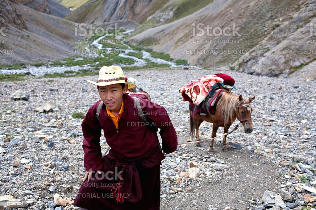 Tibetan pilgrim stock photo