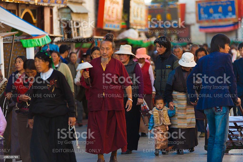 Tibetan Pilgrims Barkhor Jokhang Lhasa Crowded royalty-free stock photo