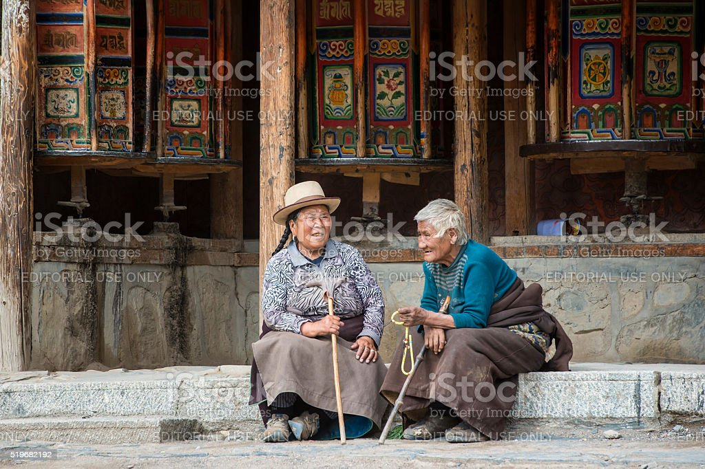 Tibetan pilgrims in Labrang Monastery, Amdo, Tibet stock photo