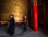 Tibetan pilgrims in Rongwo Monastery, Qinghai, Tibet