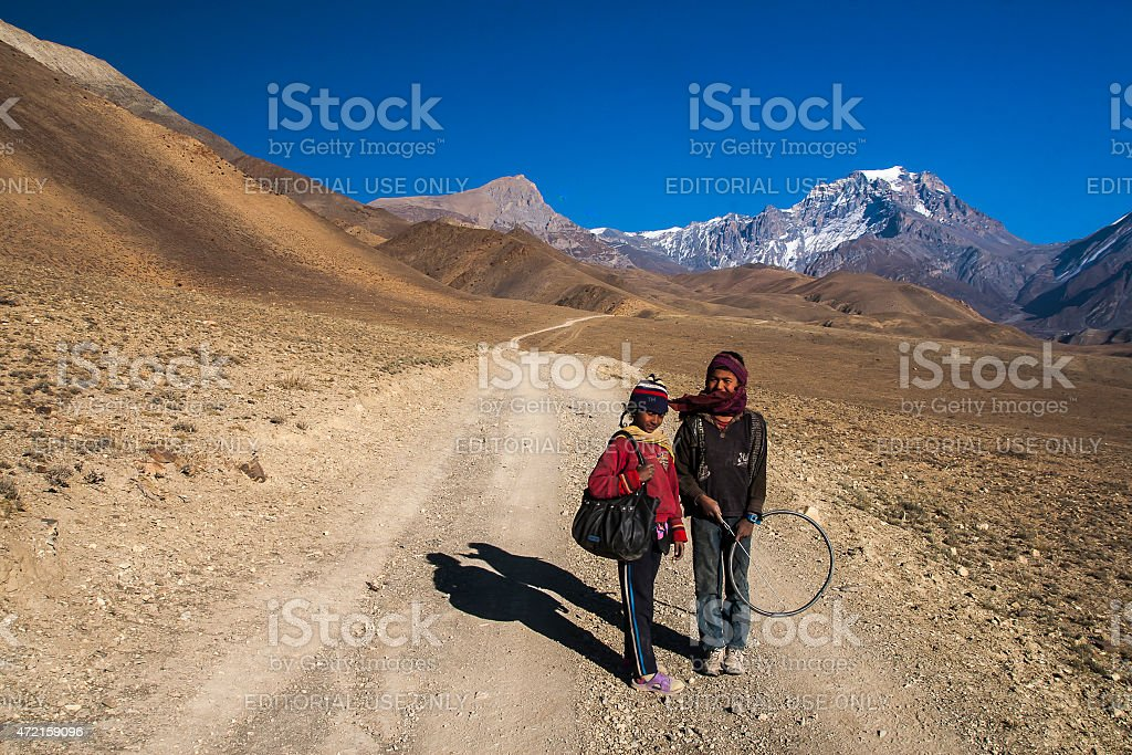 Tibetan Plateau between the villages Jhong and Kagbeni stock photo