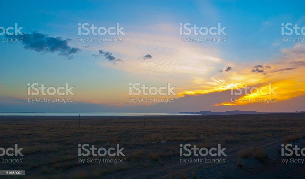 Tibetan plateau-Evening sky on the Qinghai Lake bank stock photo