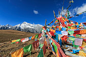 Tibetan Prayer Flags and Jade Dragon Snow Mountain