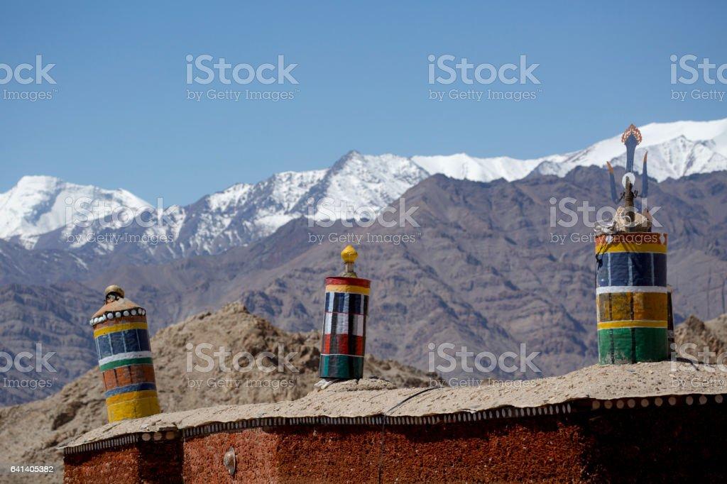 Tibetan prayer flags at Shey Palace, Leh-Ladakh, India stock photo