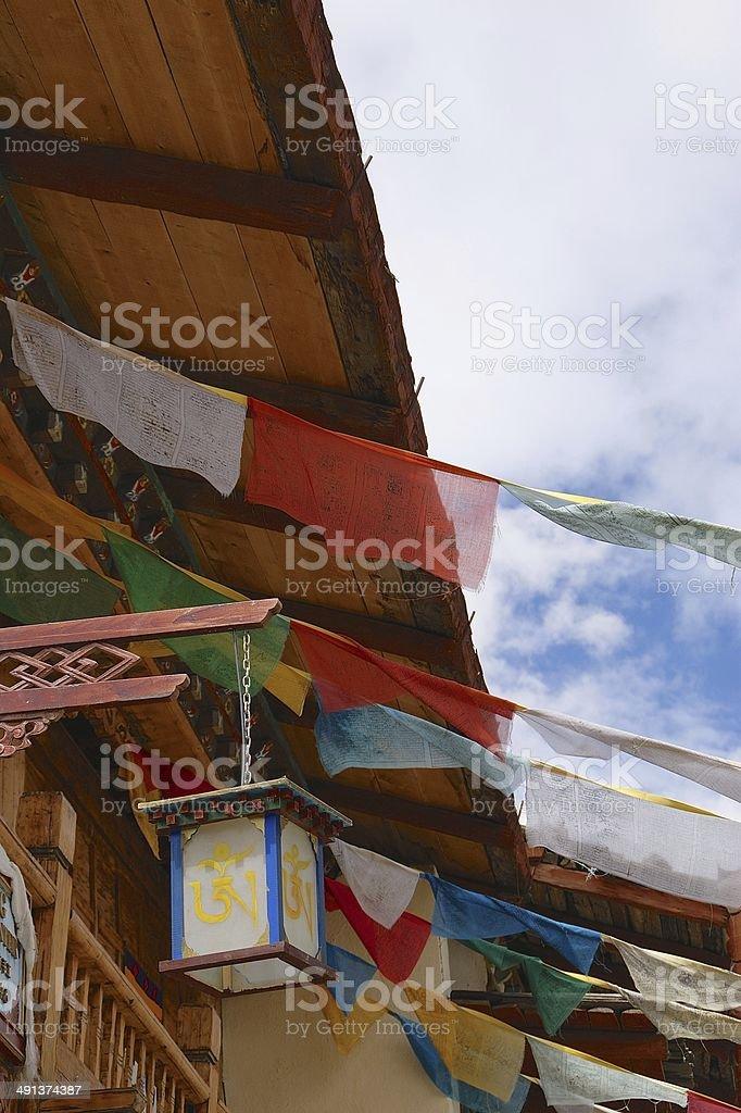 Tibetan prayer flags in Shangri-la (Zhongdian), China royalty-free stock photo