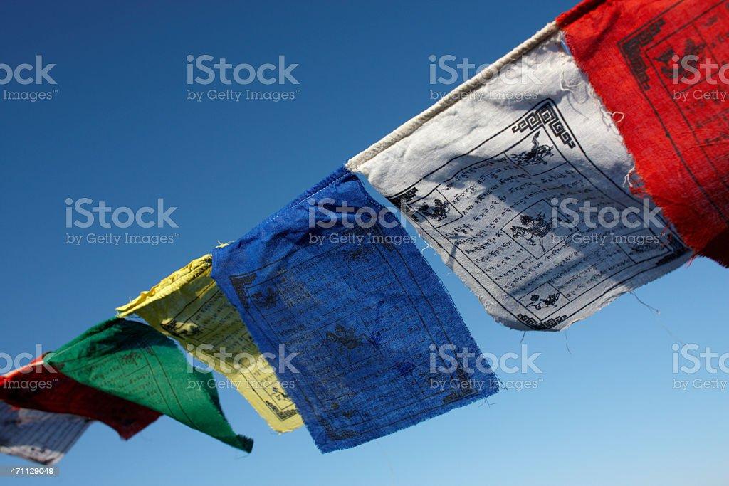 Tibetan Prayer Flags in the Breeze stock photo