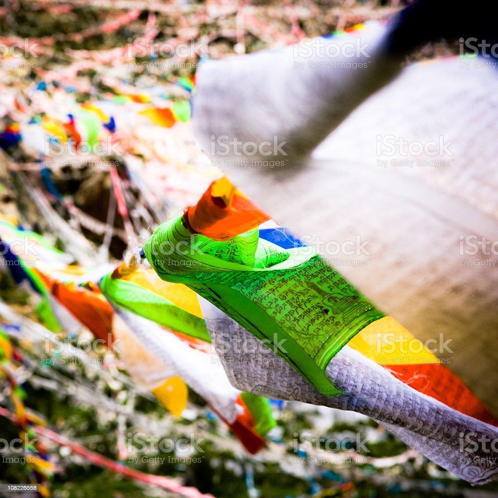 Tibetan Prayer Flags in the Wind stock photo