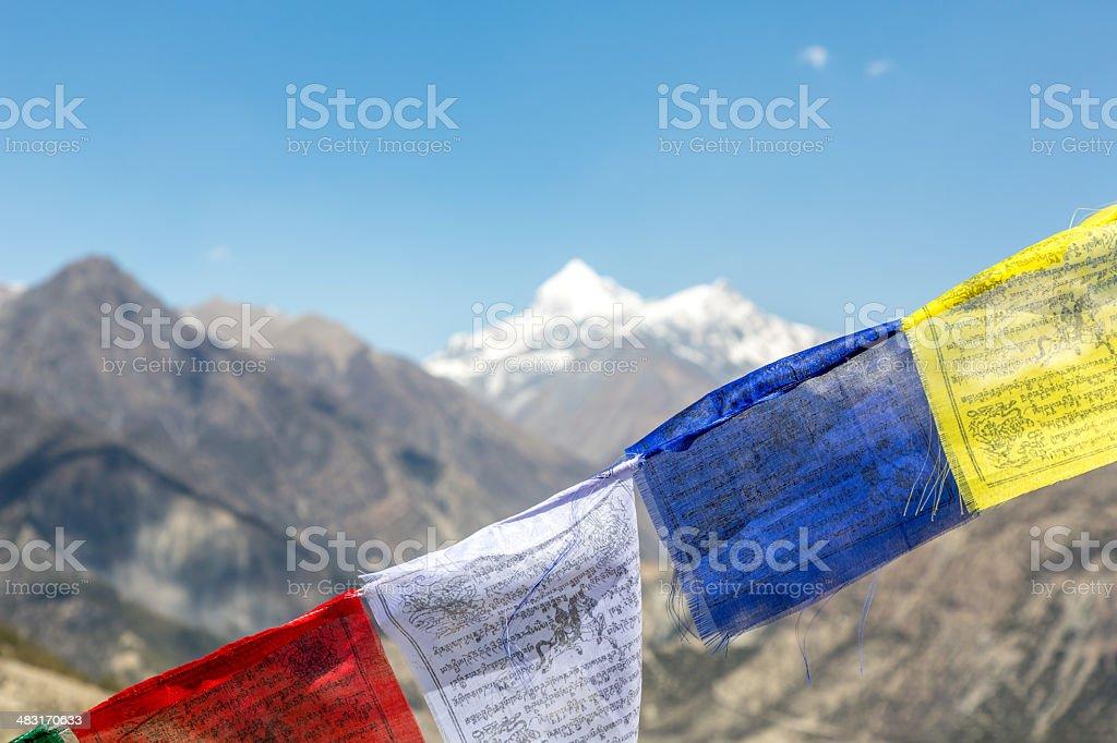 Tibetan Prayer Flags on Mountain Summit, Nepal royalty-free stock photo