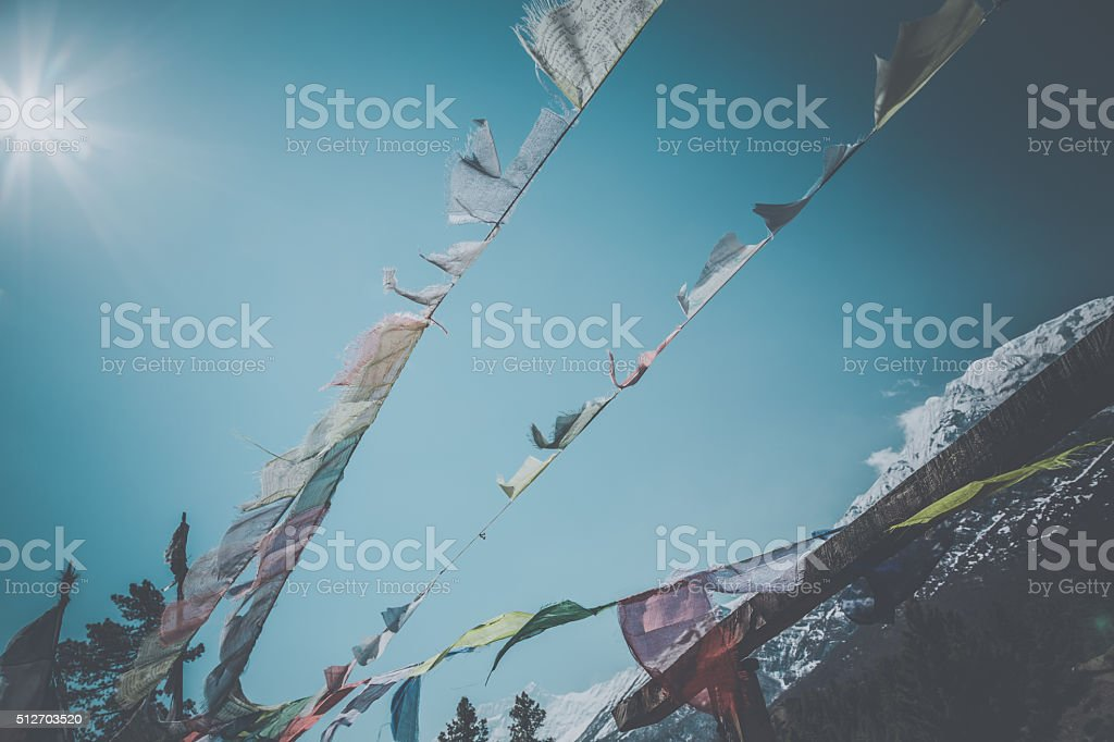 Tibetan Prayer Flags on Mountain Summit, Nepal stock photo