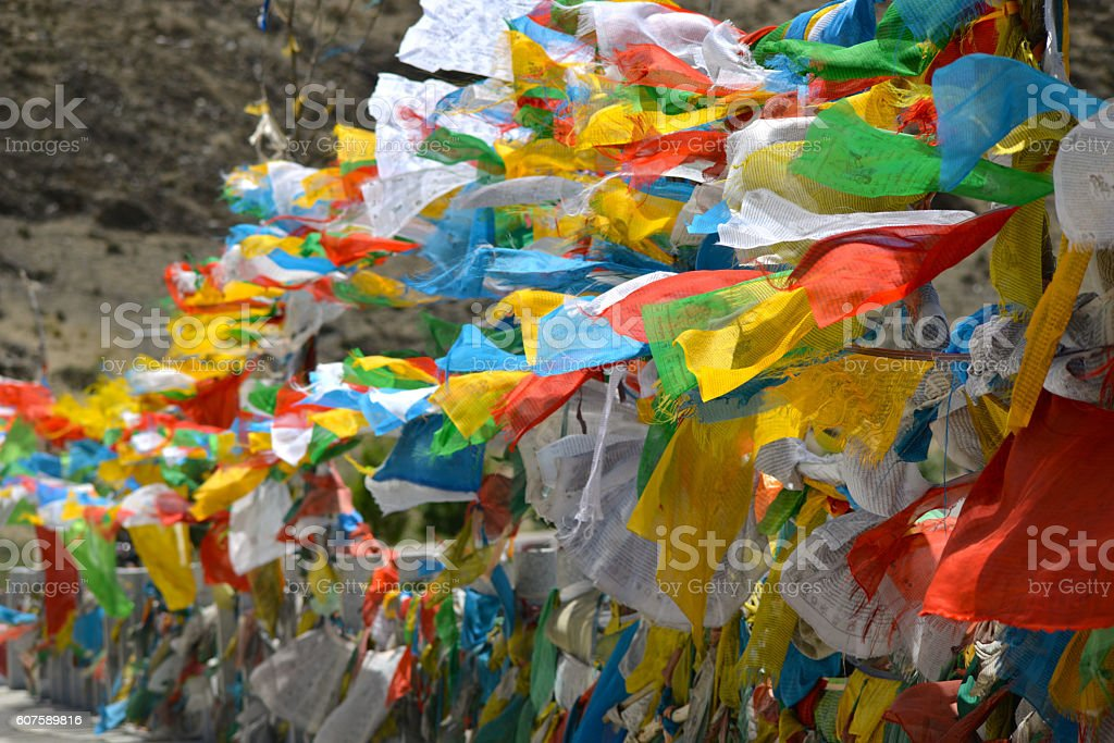 Tibetan prayer flags, Tibet, China stock photo