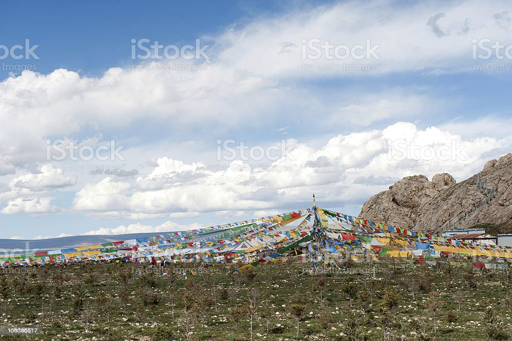 Tibetan Prayer Flags With Blue Sky royalty-free stock photo