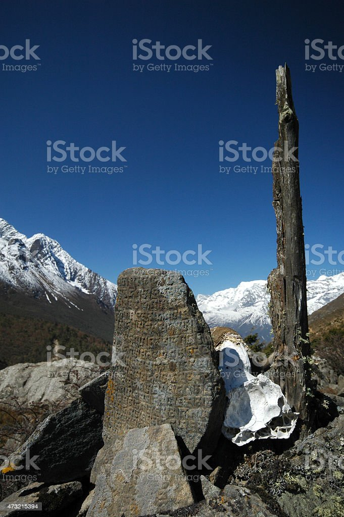 Tibetan prayer 'Om Mani Padme Hum' on rocks stock photo