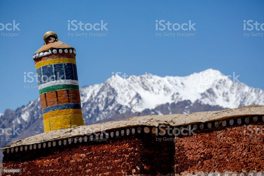 Tibetan prayer scenery Himalaya Range stock photo