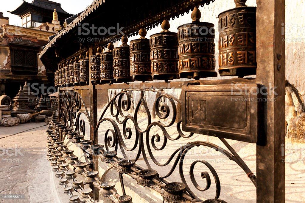Tibetan prayer wheels. Kathmandu, Nepal stock photo