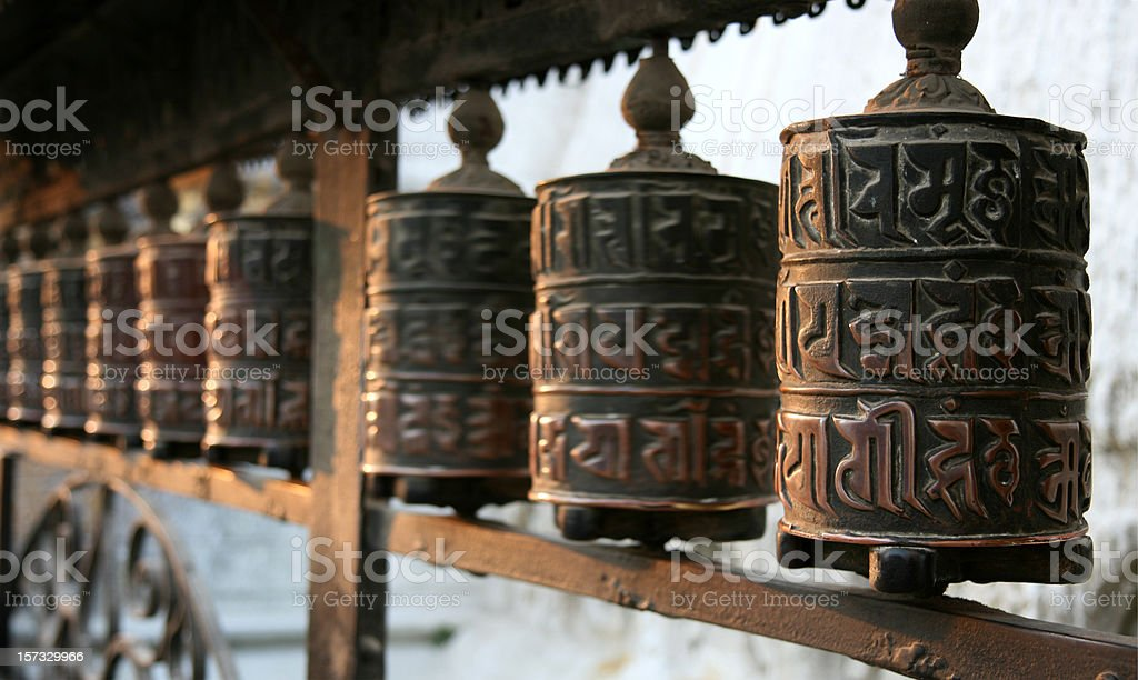 tibetan prayer wheels royalty-free stock photo