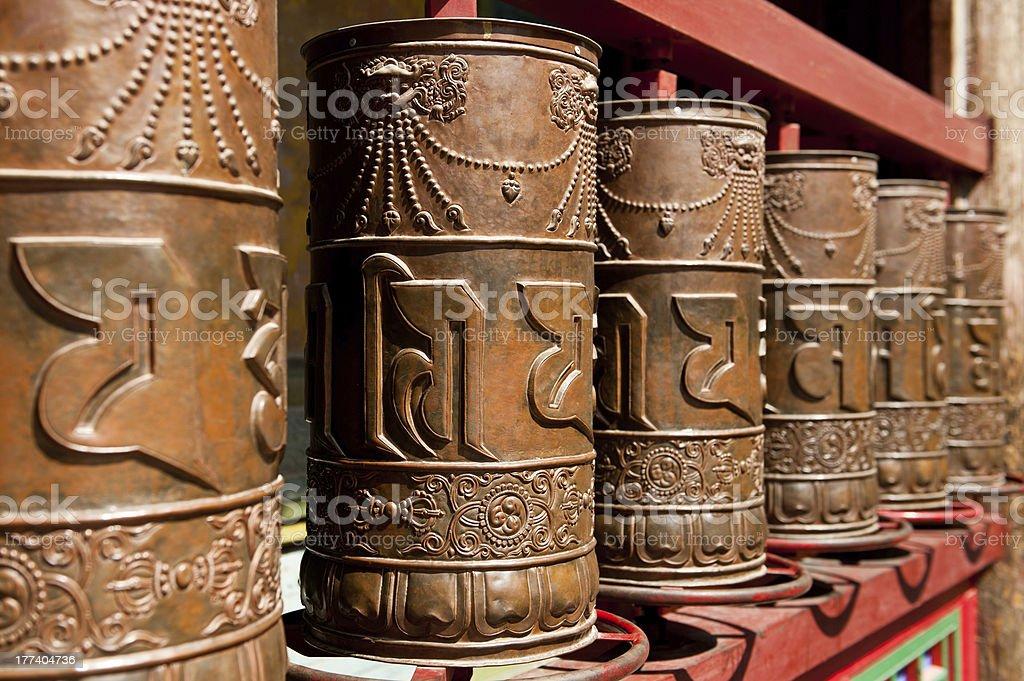 Tibetan prayer wheels stock photo