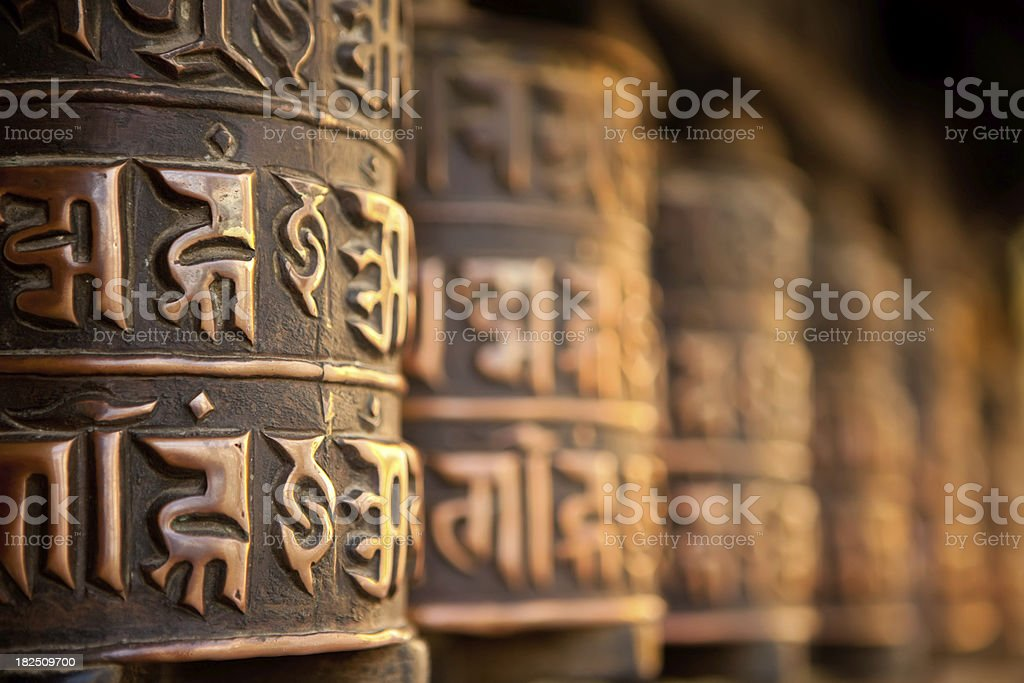 Tibetan prayer wheels stock photo