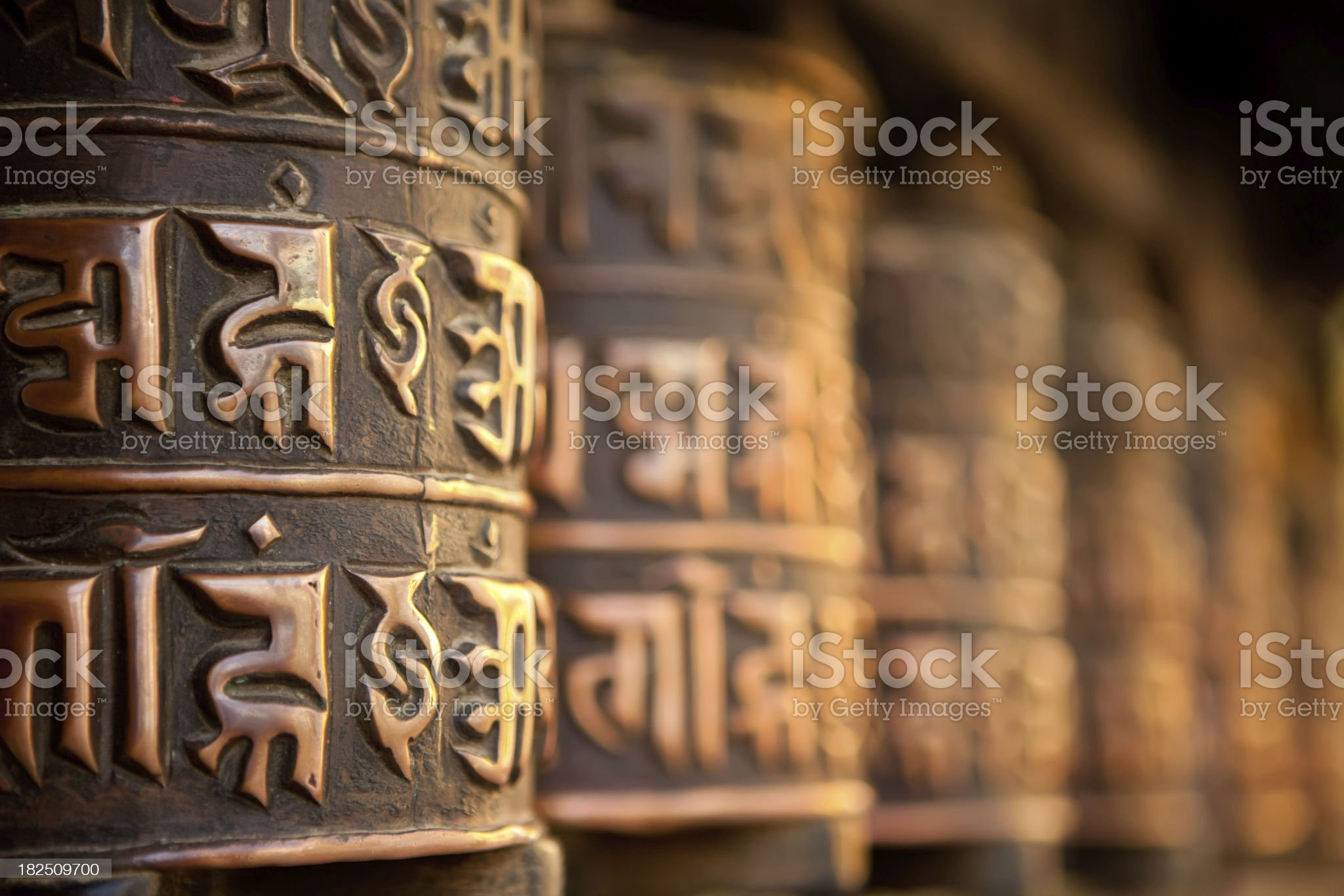Tibetan prayer wheels royalty-free stock photo